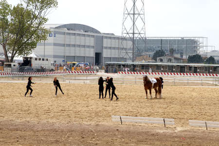 Girls doing gym excercises with their horse at Roma Cavalli horse fair in Rome, Italy on April 2011. Editorial