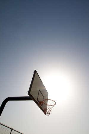 Backboard and its basket of a basketball field Stock Photo