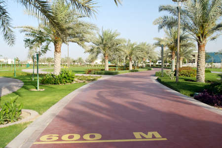 600 m mark on a public running track in a public park