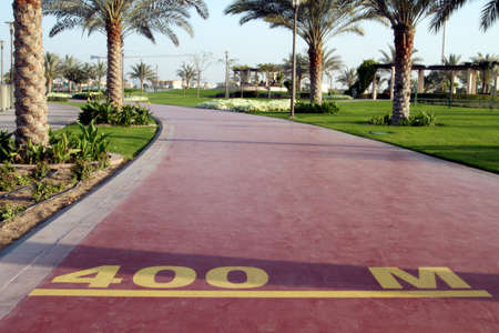 400 m mark on a public running track in a public park