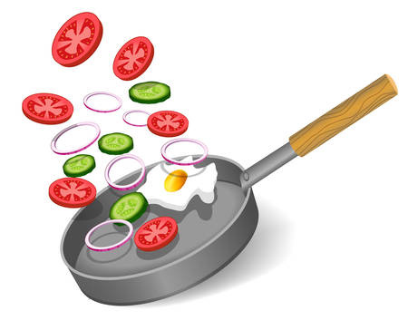 Realistic frying pan and vegetables isolated on white background. Vector illustration Ilustração