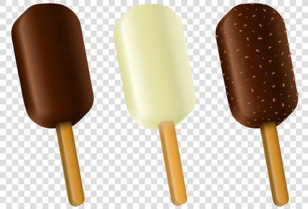 Ice cream collection of eskimo pie with dark and milc varieties of chocolate glaze at transparent background.Chocolate with nuts. Realistic vector illustration.