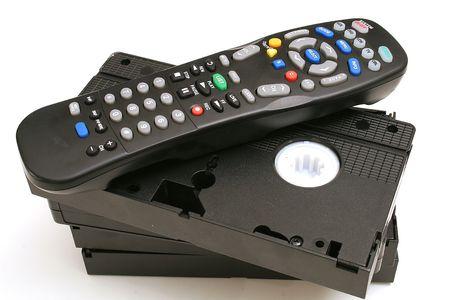remote control with vhs tapes photo