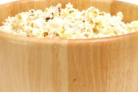 popcorn bowl on white upclose Stock Photo