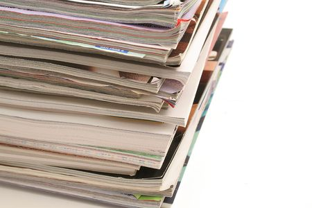 stack of magazines on top angle Imagens