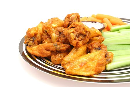 chicken wings w/celery & carrots