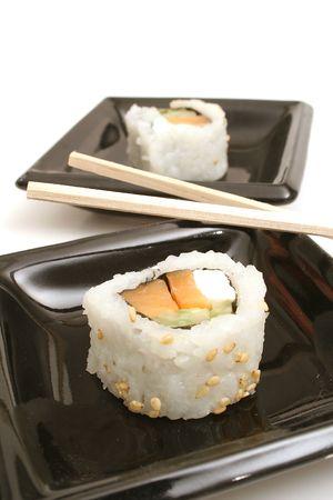 smoked salmon sushi vertical photo