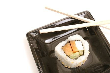 single sushi on white on top photo