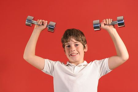 boy with fitness weights photo