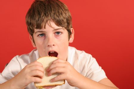 boy with bologna sandwich vertical photo
