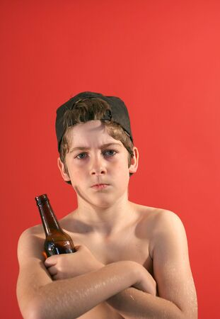 pre adolescent boys: punk kid with a beer