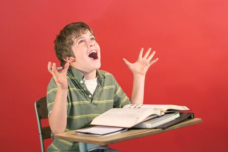 pre school: kid screaming at desk