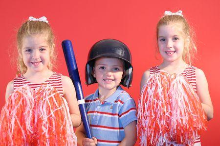 baseball boy & cheerleaders photo