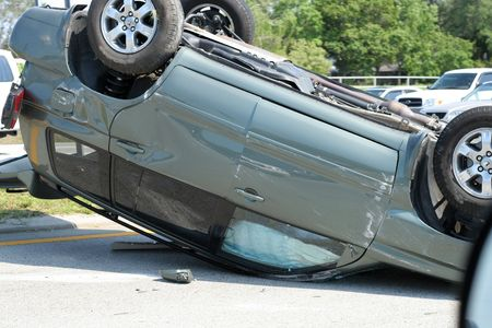 mishap: automobile wreck Stock Photo