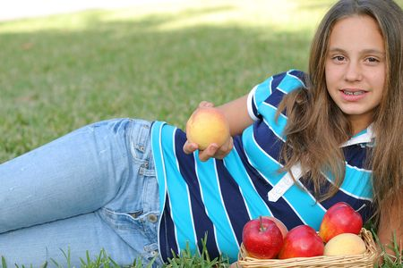 girl with peaches & apples