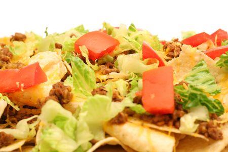 dinnertime: Loaded nachos level Stock Photo