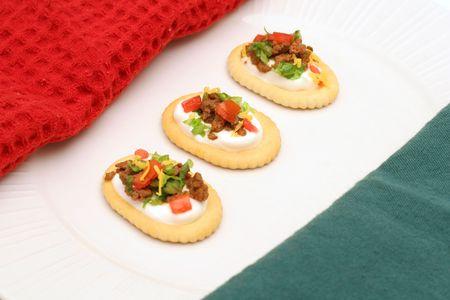 dinnertime: taco bite crackers angle Stock Photo