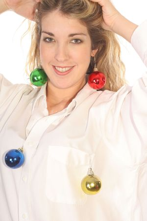 Woman showing off Christmas ornaments photo