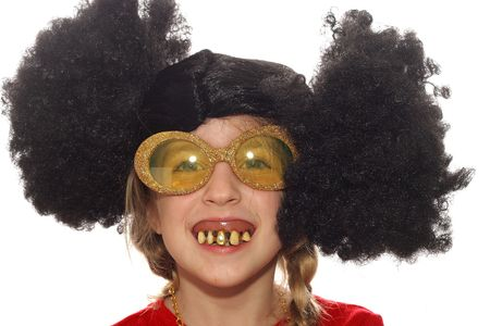 wigs: little girl with ugly teeth & crazy hair Stock Photo