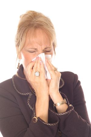 beautiful woman with allergies