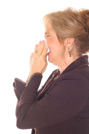 beautiful woman sneezing side