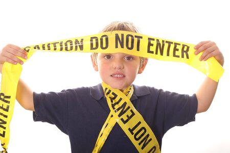 little boy caution do not enter photo