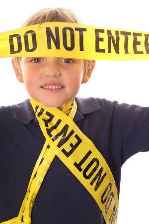 little boy caution do not enter vertical photo