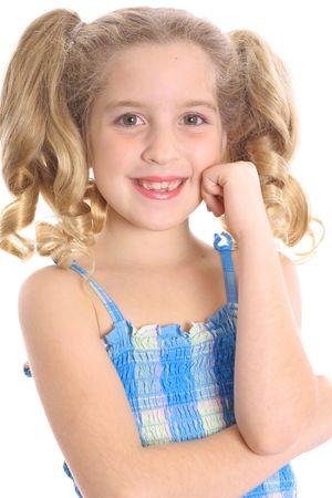 happy little girl thinking
