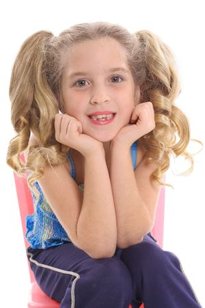 beautiful preteen girl: happy little girl with curly pig tails