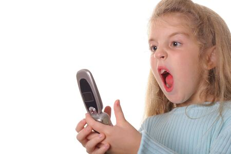 angry little girl screaming on cellphone