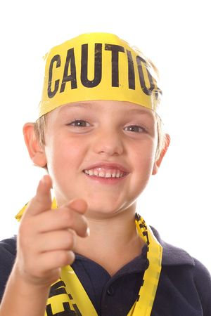 caution kid pointing photo