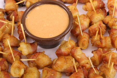 bacon wrapped appetizers and dip