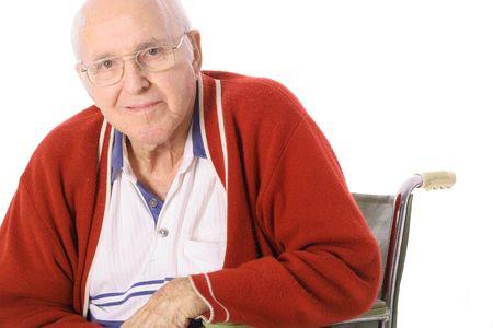 elderly man in wheelchair isolated on white