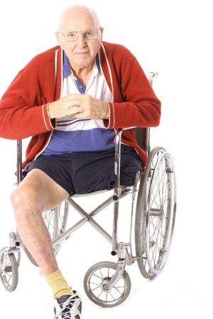 amputation: handicap grandfather with leg amputation Stock Photo