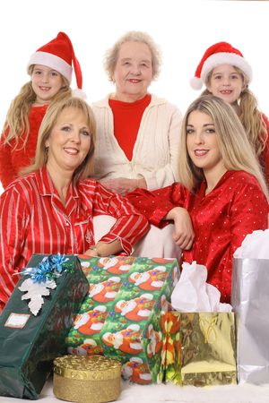 grand kids: Pretty woman with presents Stock Photo