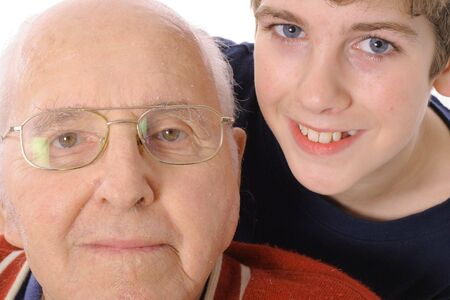 grand sons: Great Grandfather and Grandson together  Stock Photo