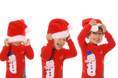 Three children Merry Christmas photo