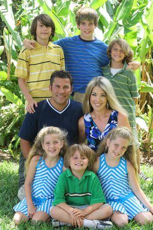 blended: family portrait outside Stock Photo