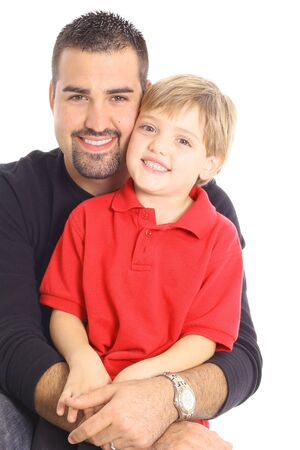 happy father and son isolated on white photo