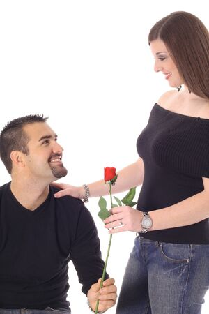 woman receiving a rose photo