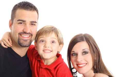 little boy making funny face for family portrait photo