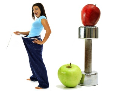 resolutions: weight loss workout apples brunette in jeans
