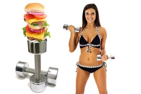 workout burger brunette in bikini exercise 写真素材