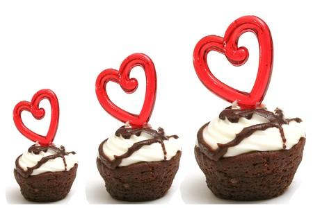 Three heart brownies in a row  Reklamní fotografie