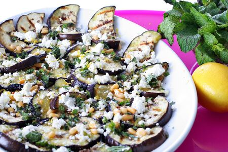 Grilled Eggplant and Goat Cheese with pine nuts