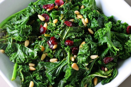 kale: sauteed kale with cranberries and pine nuts