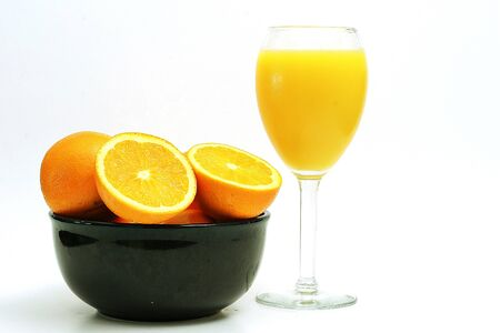 oranges & OJ on white