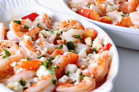 prepared shrimp: roasted shrimp with tomatoes and feta cheese