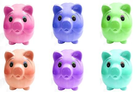 six pigs piggy bank Reklamní fotografie