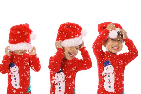 Three children Merry Christmas